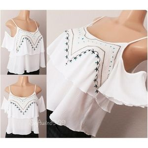 e0dca8c9e8ccd8 White Navy Blue Embroidered Cold Shoulder Crop Top
